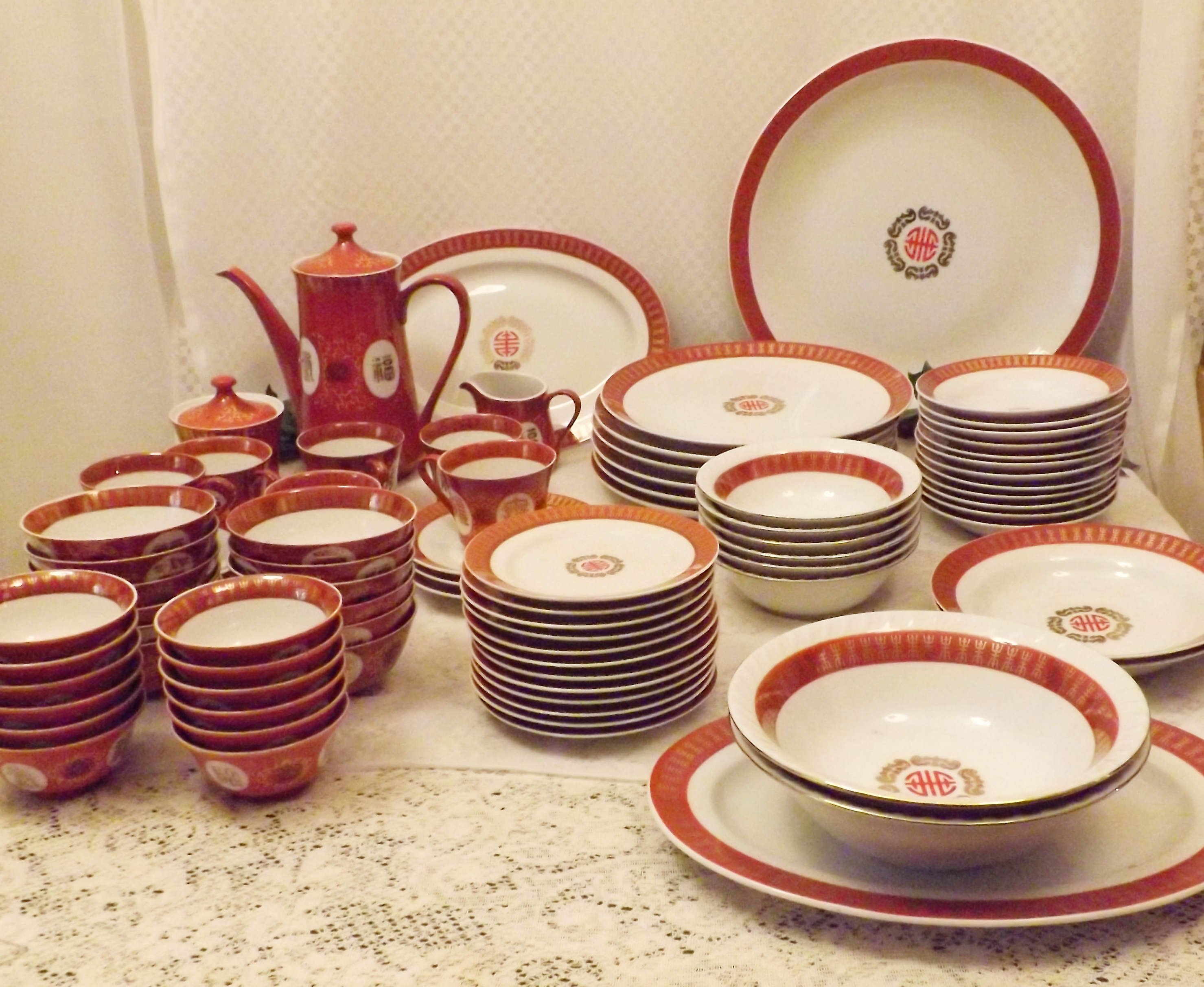 Extensive Porcelain Dinnerware Set With Multiple Serving And Hostess  Pieces. Orange And White With A Gold Design And Gold Edge Trim. Pointed  Chinese Symbol ...