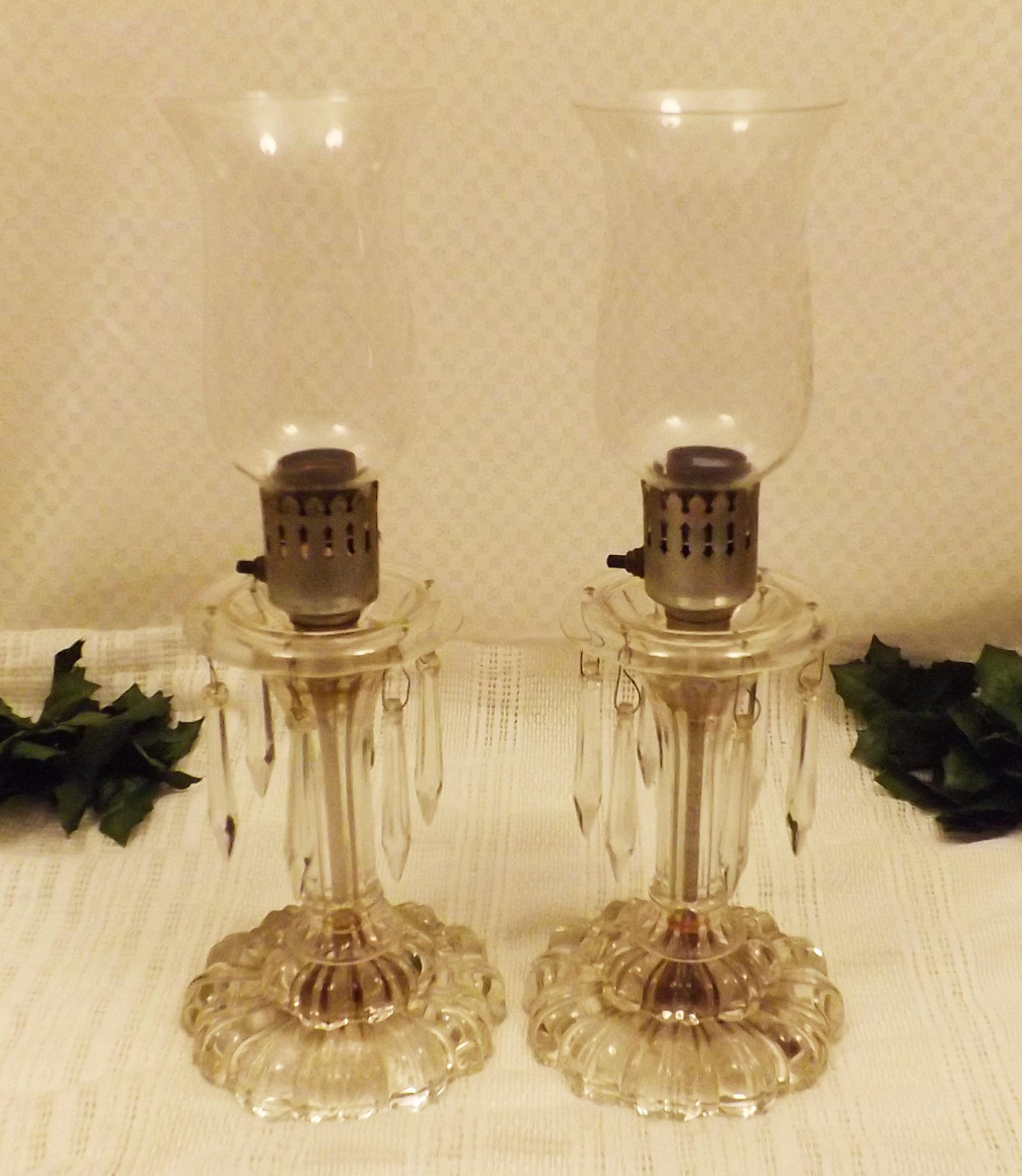Pair Vintage Crystal Prism Candlestick Boudoir Table Lamps For Sale