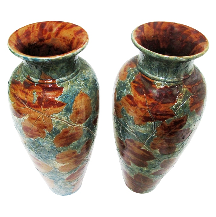 Pair Of Large Doulton Lambeth Vases For Sale Antiques