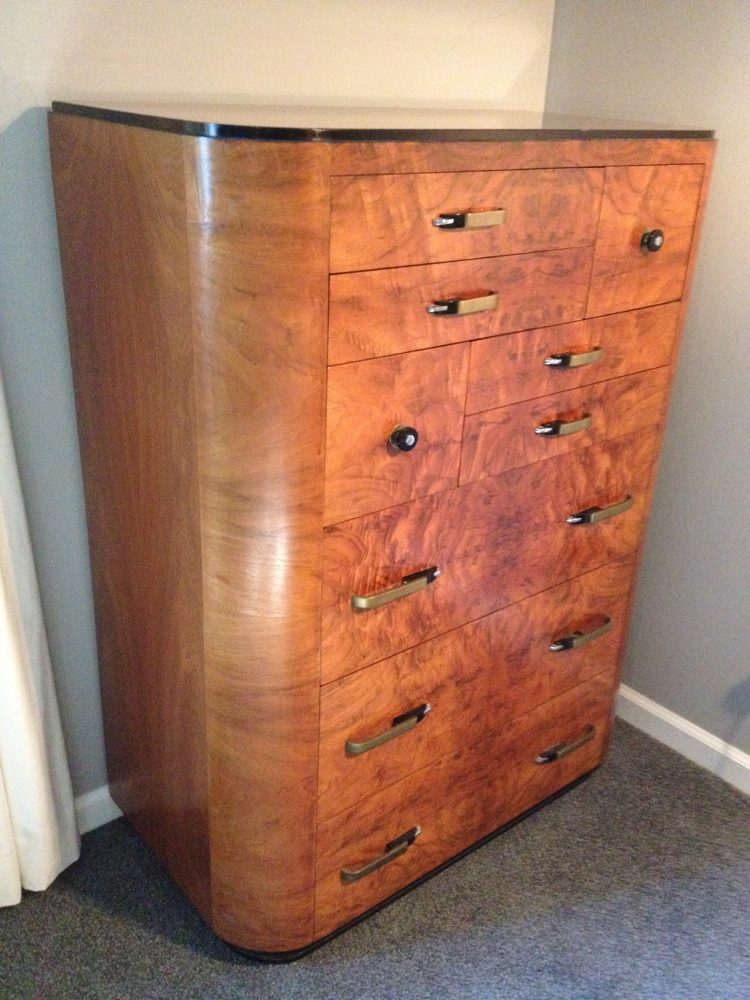 Art Deco Burl Walnut Dresser C 1930 S For Antiques