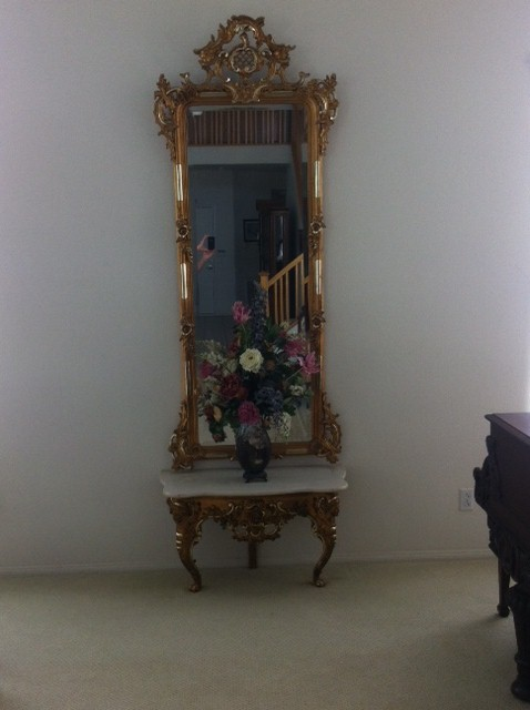19th Century Gilded Pier Mirror And Marble Table For Sale