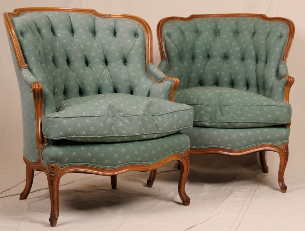 Pair Of Tufted Barrel Back Louis XV Style Bergere Arm Chairs Carved  Fruitwood Frames, C. 1890 1900. Item # 120010IYW08