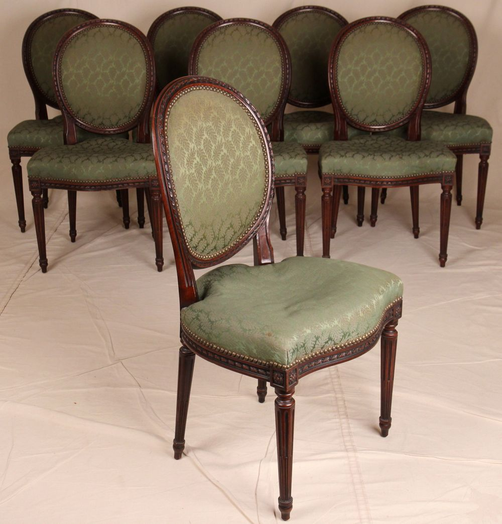 Dinette Chairs For Sale: Set Of Eight French Louis XVI Style Rope Carved Dining