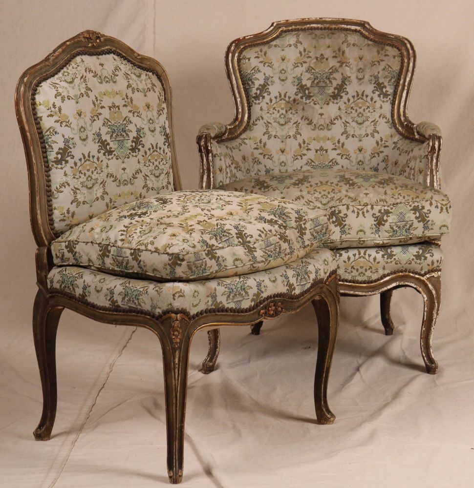 Pair Of Louis Xv French Associated Side Arm Painted Carved Antique Chairs For Sale Antiques