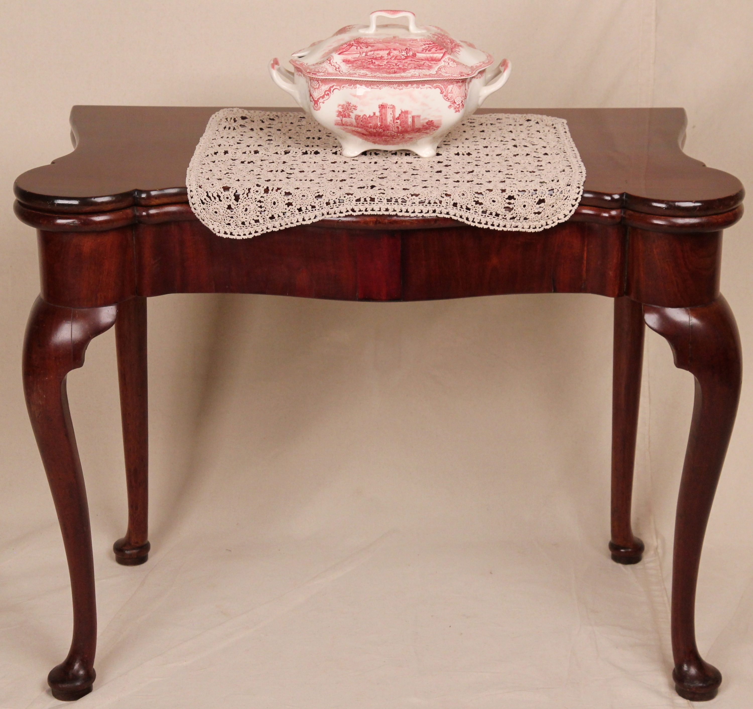 classified  Antique Fine Original English Queen Anne Card Game Console Side Table c