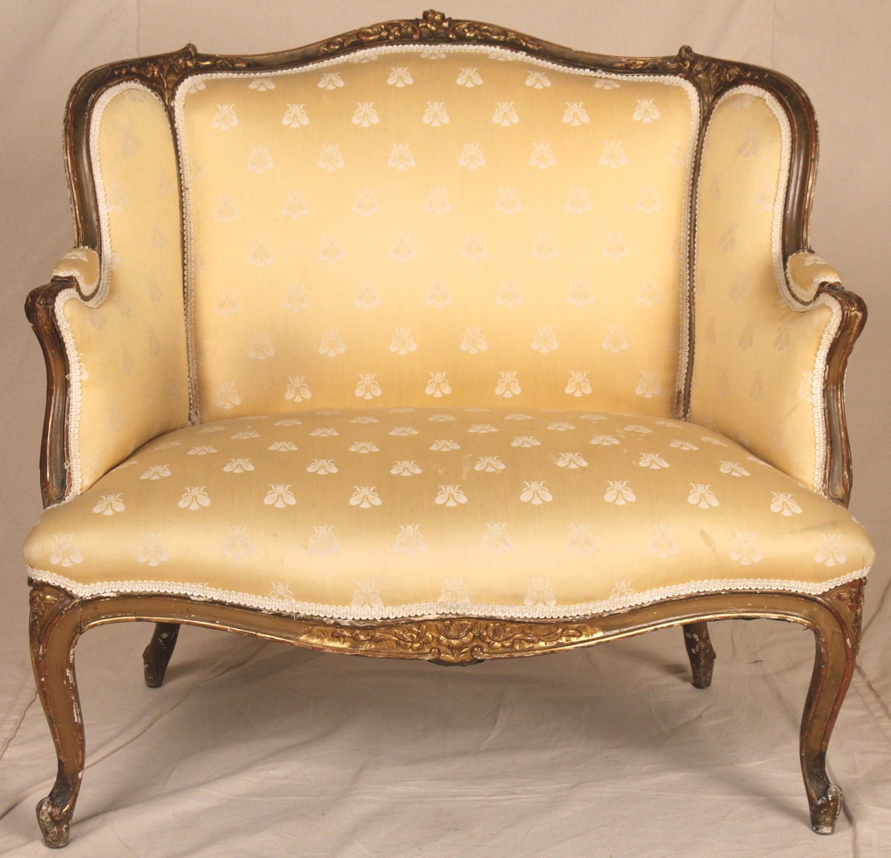 Antique Wingback Chair Styles - 19th century louis xv xvi one half sofa chair settee loveseat