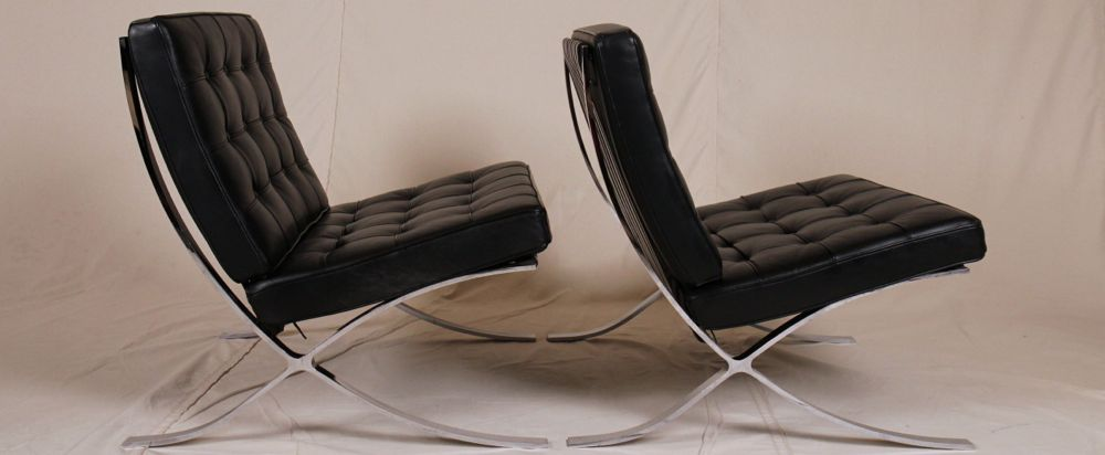 Pair of Italian Barcelona Style Thick Black Leather