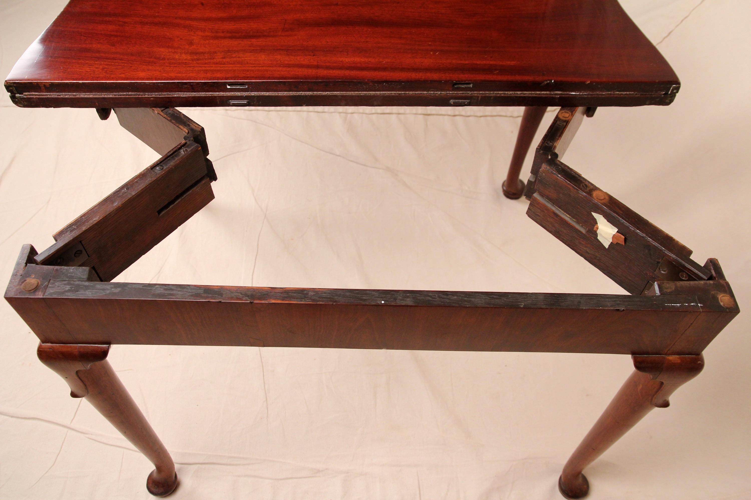 Fine Original English Queen Anne Antique Card Game Console Side Table C.  1740   For Sale