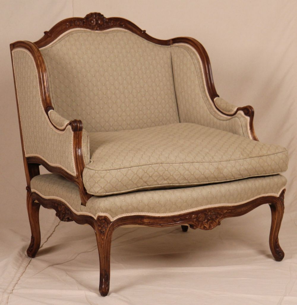 Early louis xv french style antique carved wingback for Oversized armchairs for sale