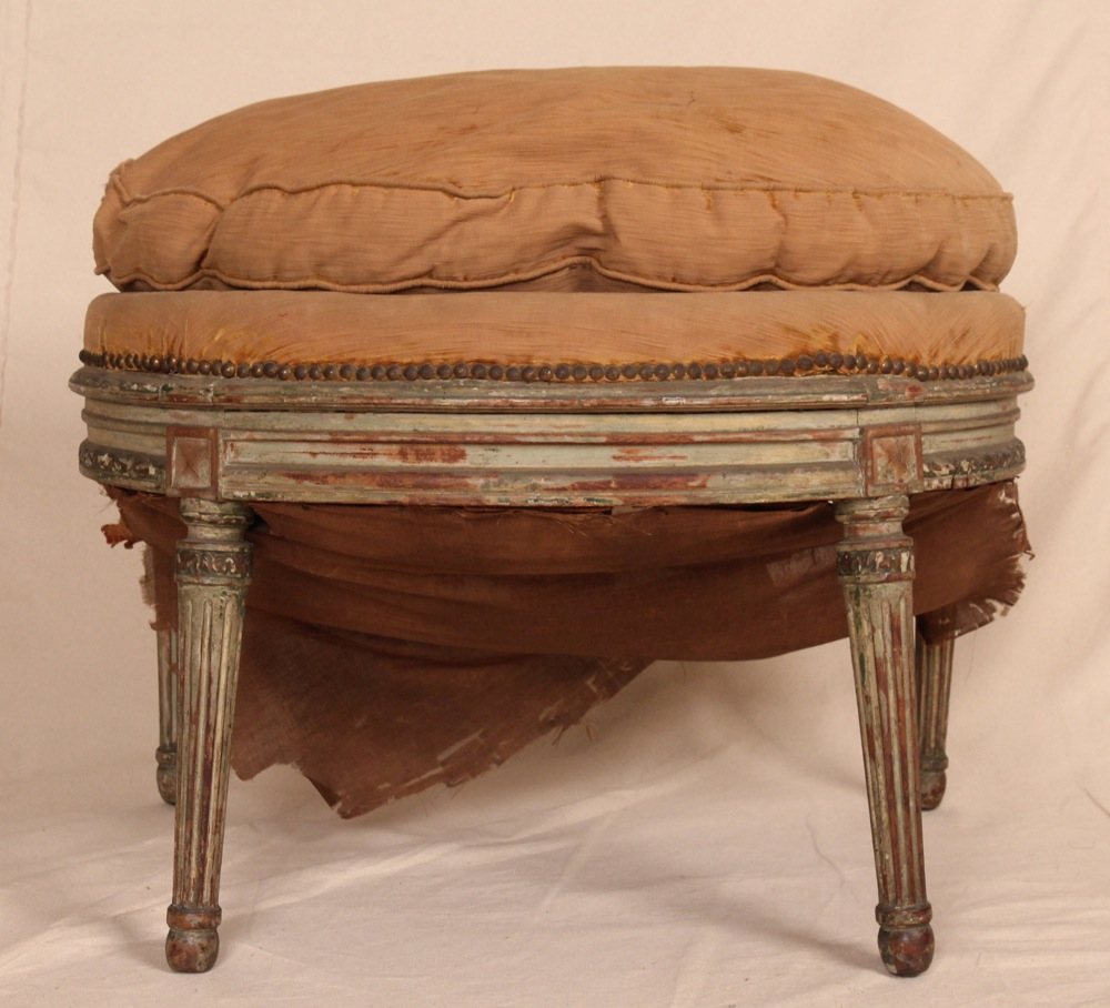 Antique French Louis Xvi Carved Painted Stool Bench For