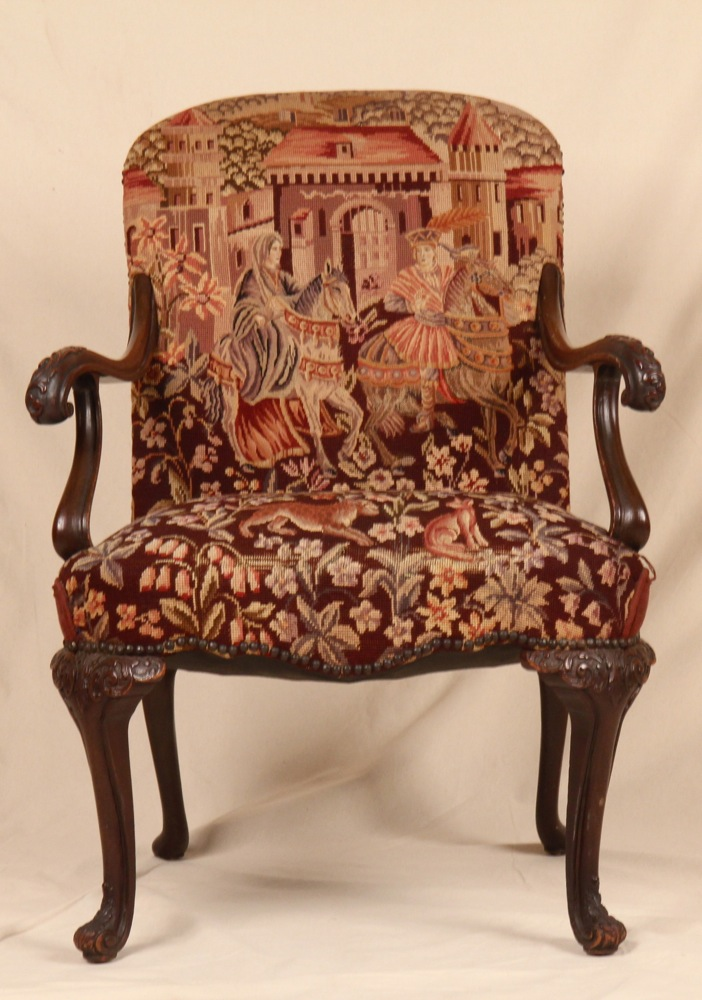 late 19th century georgian revival tapestry upholstered