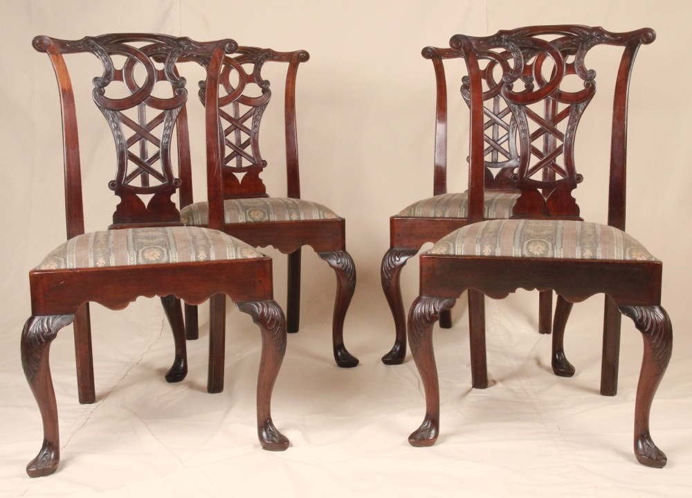 Set Of Four Transitional Queen Anne Style Antique S H Jewel Dining Side Chairs For Sale