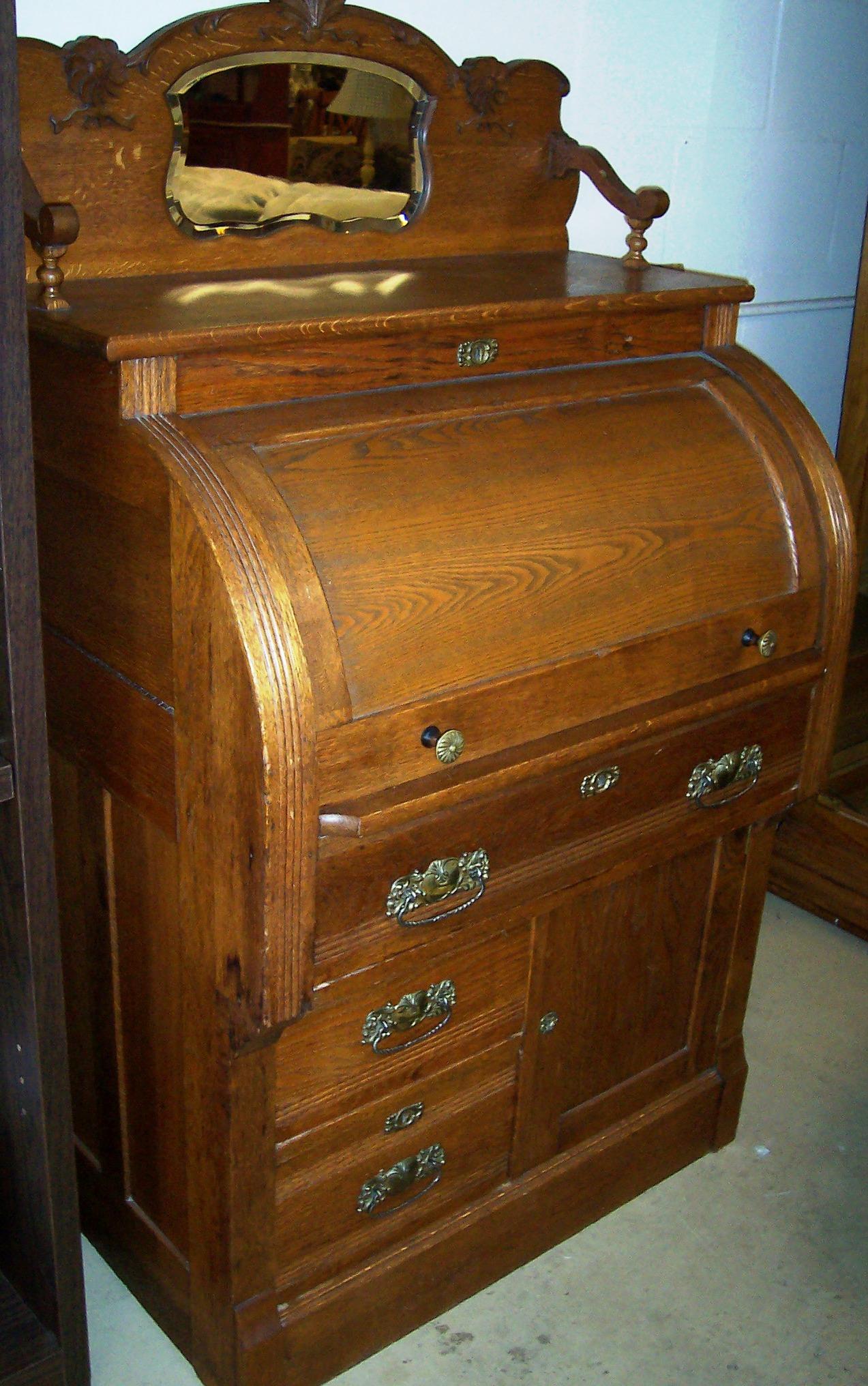 Solid Oak Cylinder Roll Top Desk For Sale Antiques Com