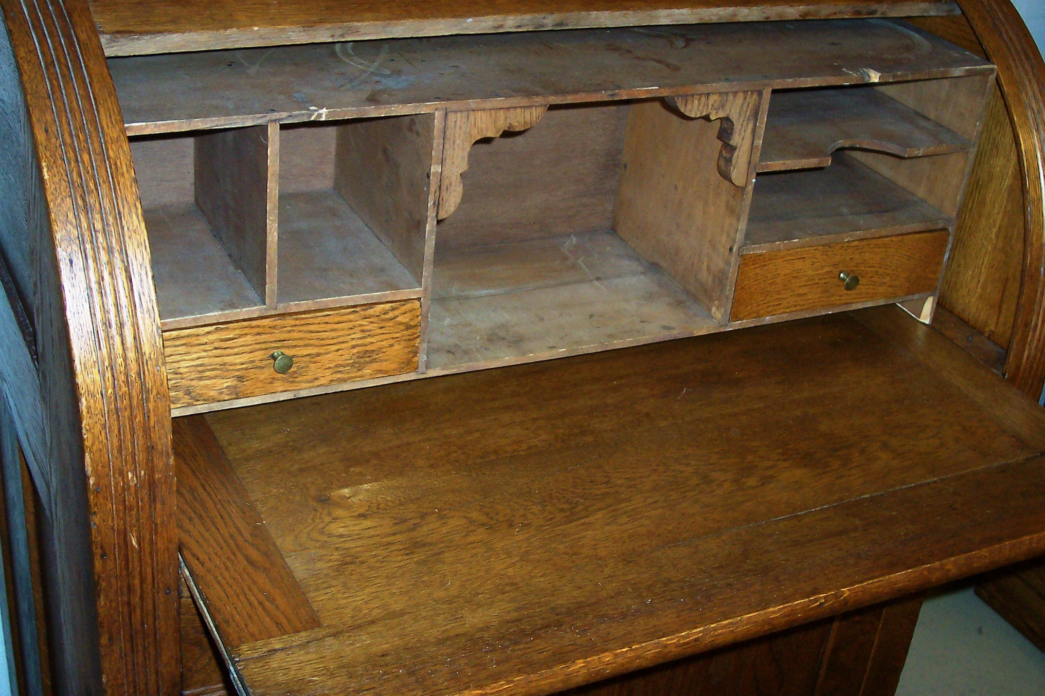 Solid Oak Cylinder Roll Top Desk For Sale Antiques Com