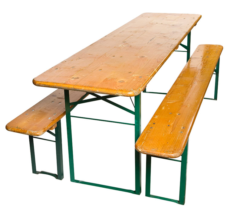 German Beer Hall Folding Table Bench Set 1900s   For Sale