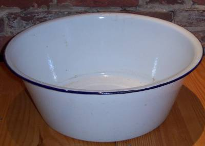 French Enamel Antique Wash Basin 1920s Primitive France   For Sale