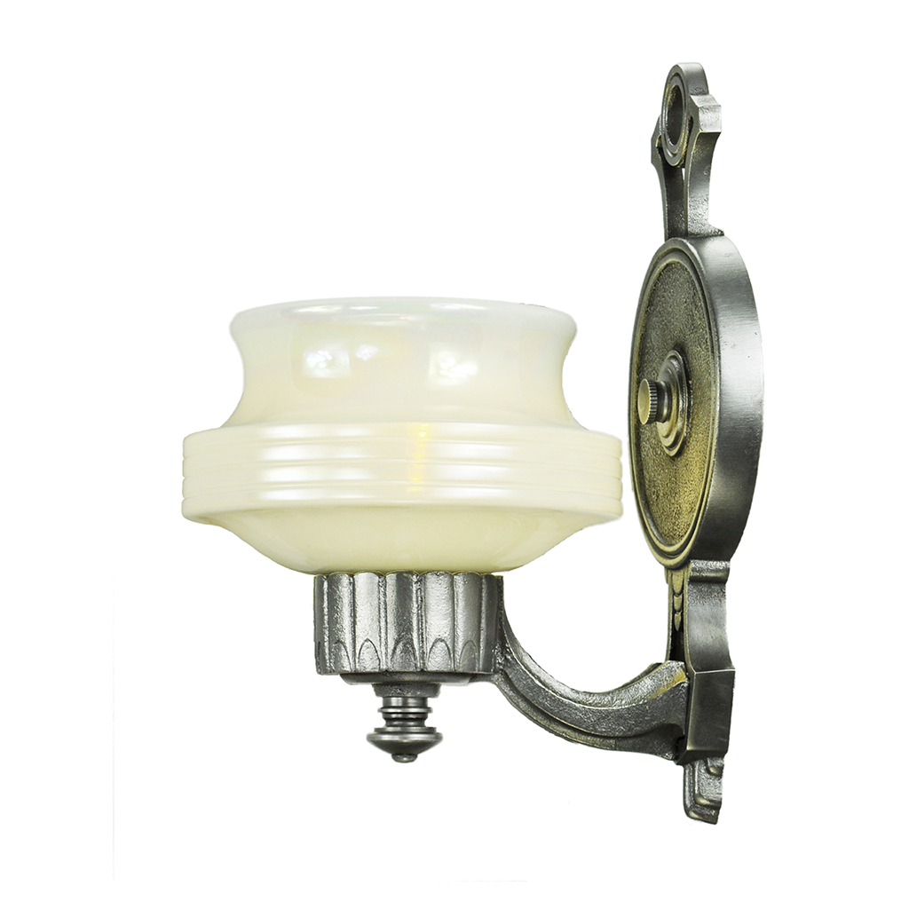 Art deco streamline style wall sconces pair antique lights for Old looking light fixtures