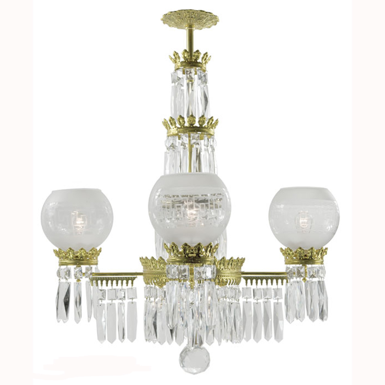 Antique Original Crystal Gasolier Style Ceiling Chandelier