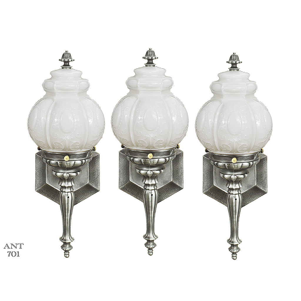 Antique Style Wall Lamps : Set of Three Torch Style Wall Sconces Pewter Vintage Porch Lights (ANT-701) For Sale Antiques ...