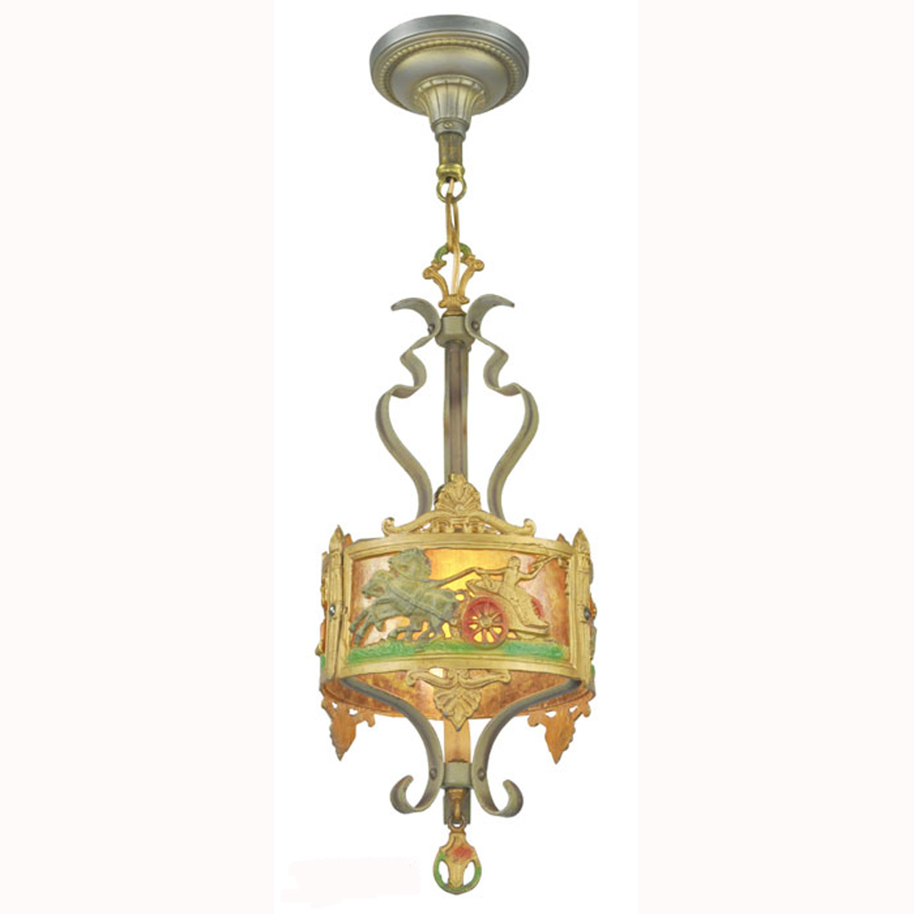 antique americana pendant ceiling light with chariot ant 394 for sale