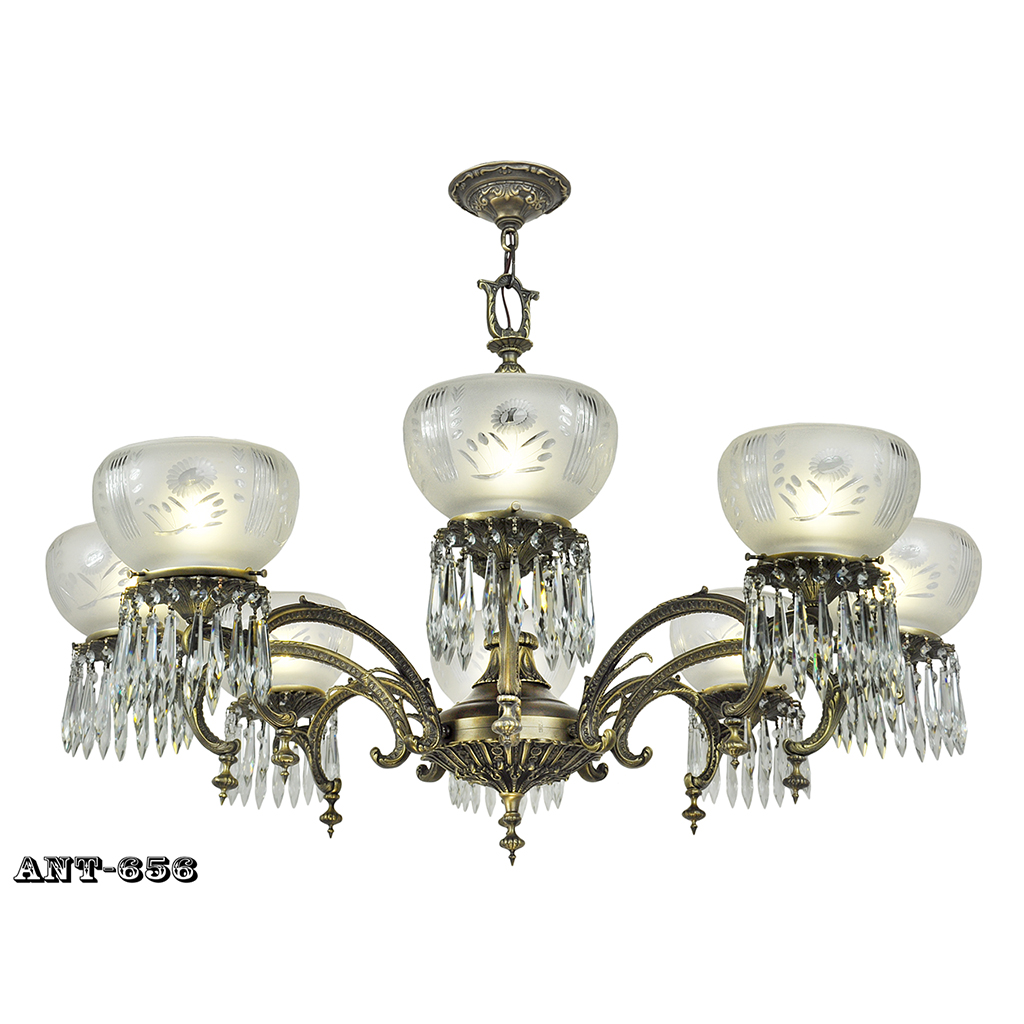 Edwardian 8 arm chandelier large ceiling light gasolier for Old looking light fixtures