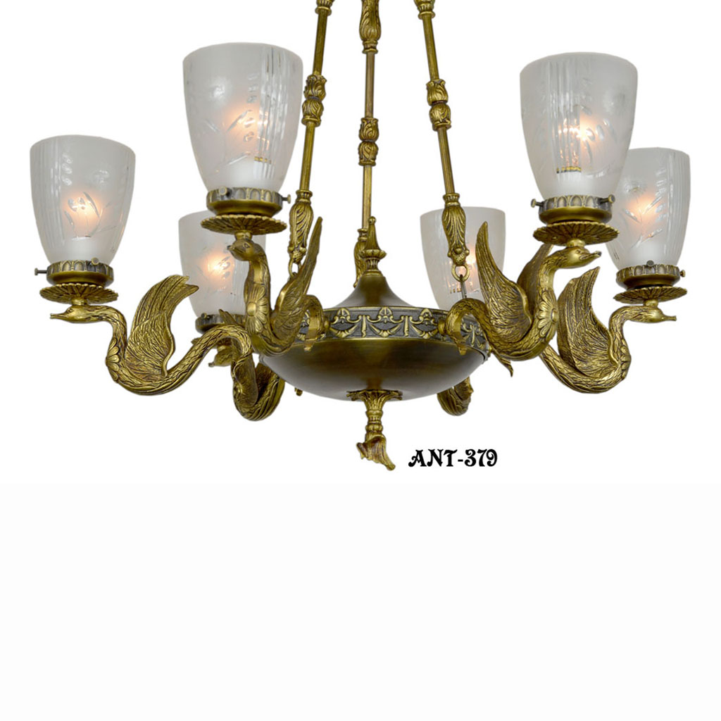 Antique Vintage Neo-Rococo French Swan Motif Victorian Chandelier (ANT-379)  - For Sale - Antique Vintage Neo-Rococo French Swan Motif Victorian Chandelier