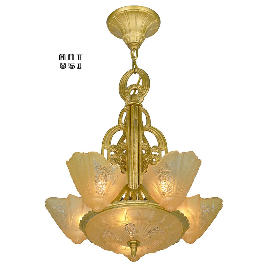 Art Deco 6 Shade Chandelier Slip Shade Ceiling Light By