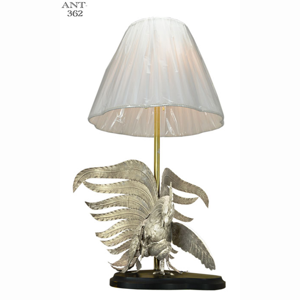 vintage rooster table lamps pair hand made silver color. Black Bedroom Furniture Sets. Home Design Ideas