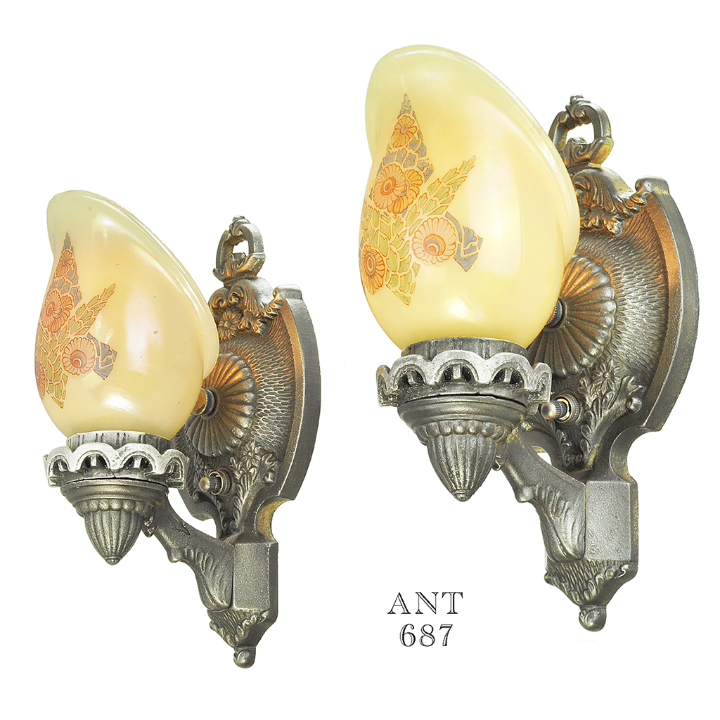 Antique Wall Sconces Pair 1920s Lights With Custard Shades Lightolier  (ANT 687) For Sale | Antiques.com | Classifieds
