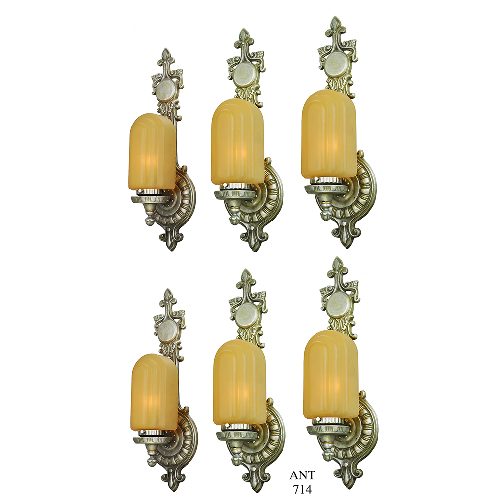 art deco wall sconces set of 6 antique lights 1920s lighting