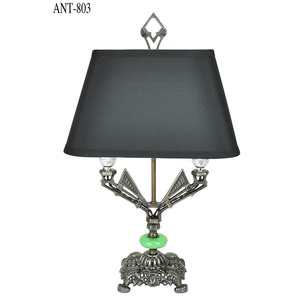 Art Deco Table Lamp Antique 2 Bulb Light With Jadeite Glass Accent Rewiring A Ant 803 For Sale