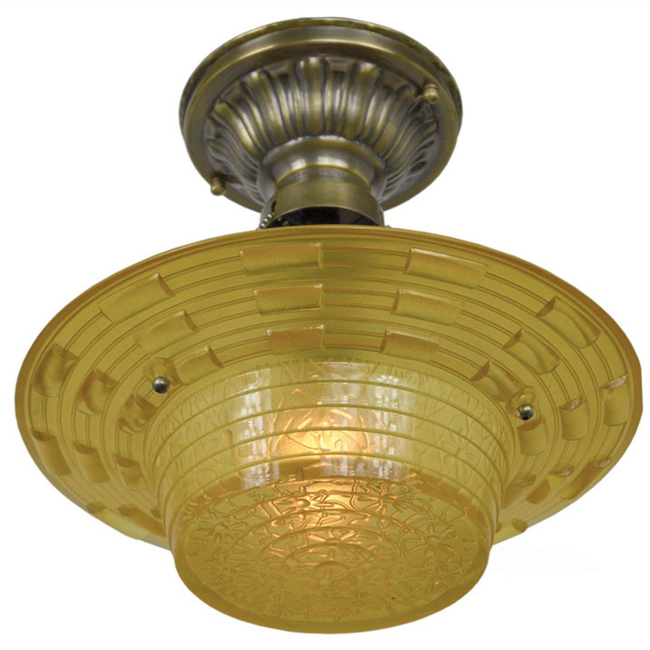 Antique Amber Glass Art Deco Bowl Shade Ceiling Light Fixture ...