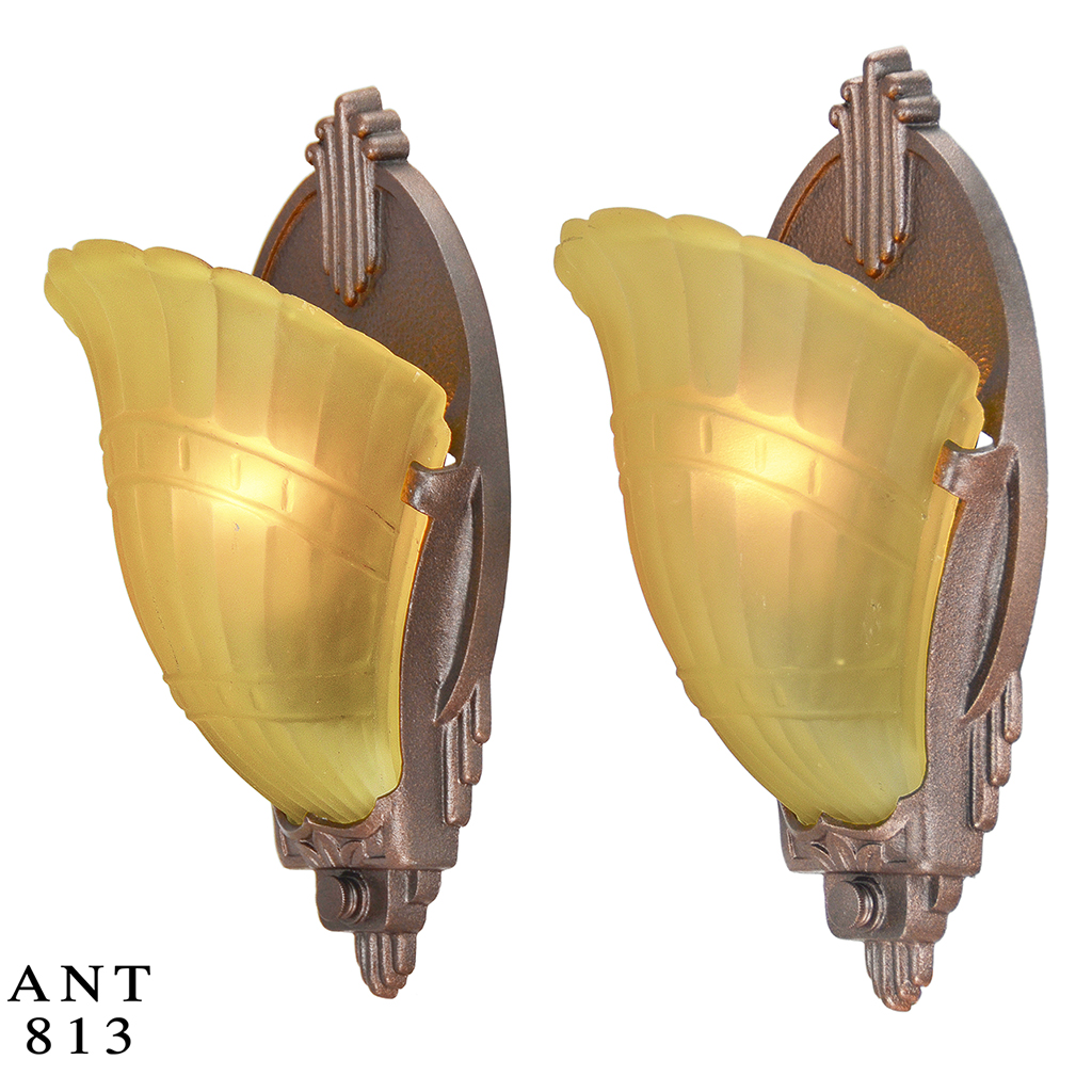 Art Deco Slip Shade Wall Sconces : Art Deco Pair of Antique Wall Sconces Slip Shade 1930s Light Fixtures (ANT-813) For Sale ...