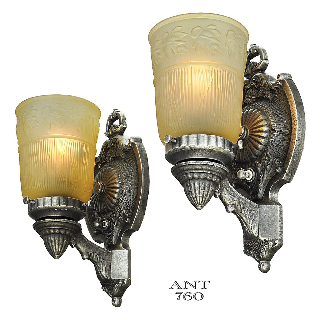 Antique Art Deco Wall Sconces Pair Circa 1920s 1930s