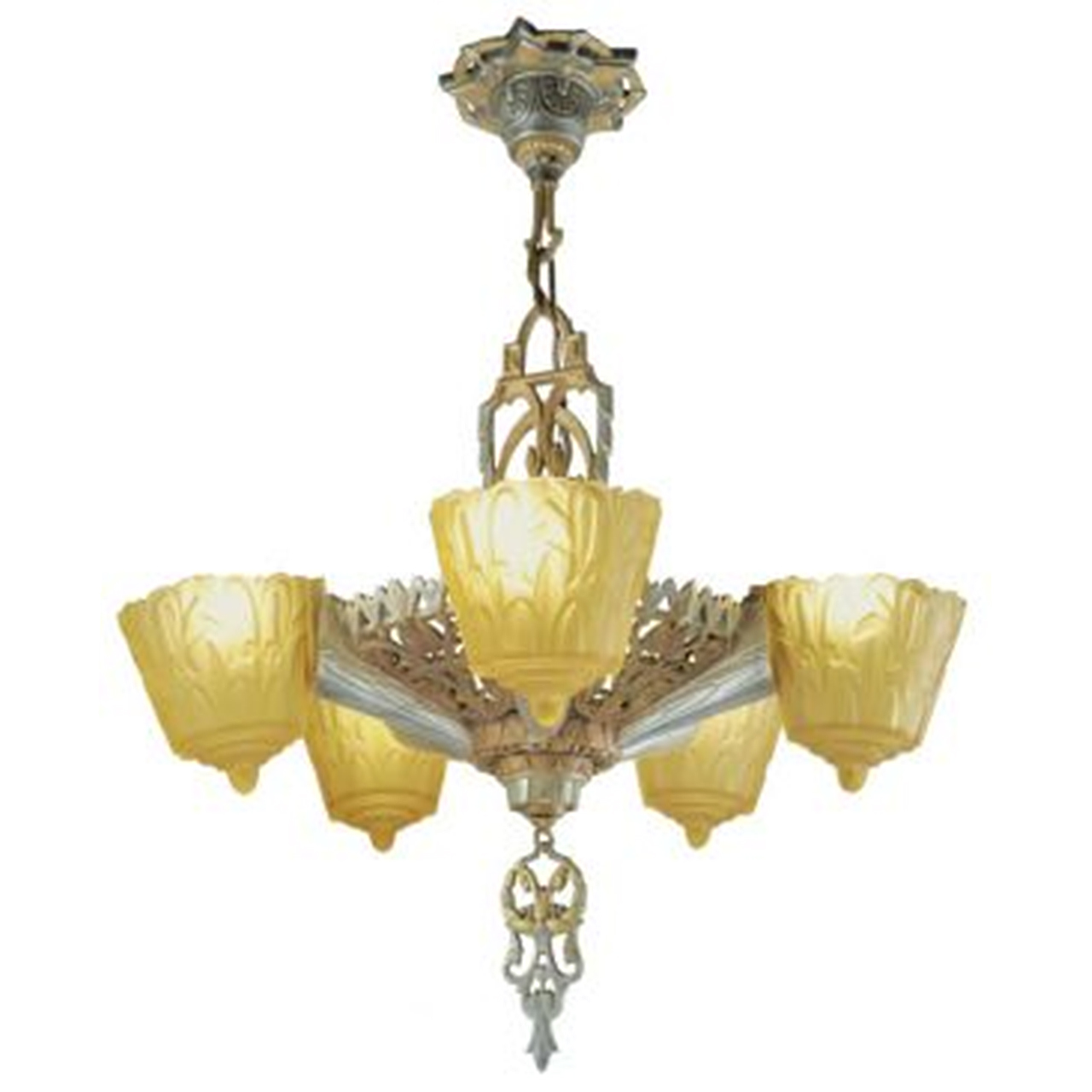 Antique art deco slip shade 1930s nile chandelier by lincoln mnf antique art deco slip shade 1930s nile chandelier by lincoln mnf ant 429 for sale arubaitofo Image collections