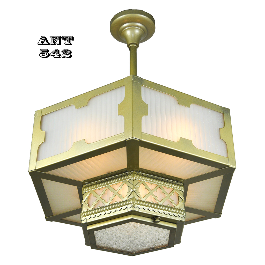 Arts and crafts gothic style hexagonal ceiling panel light for Arts and crafts light