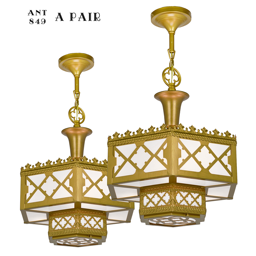 Pair of Antique Chandeliers Gothic or Arts and Crafts Ceiling Lights  (ANT-849) - For Sale - Pair Of Antique Chandeliers Gothic Or Arts And Crafts Ceiling Lights