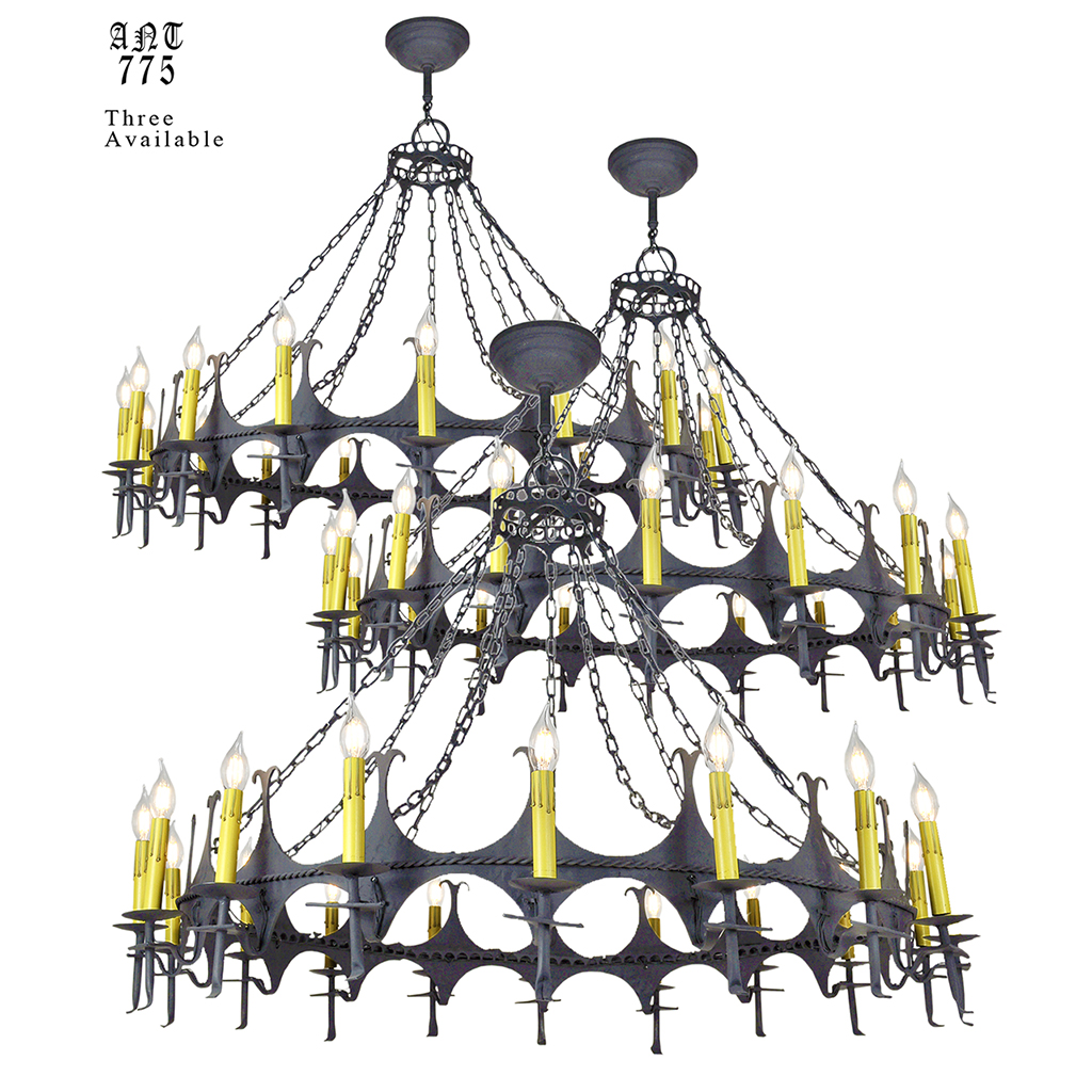 Big 48 diam iron chandelier gothic 18 light candle ceiling fixture large gothic or medieval style wrought iron and steel 18 light chandeliers 3 available arubaitofo Image collections