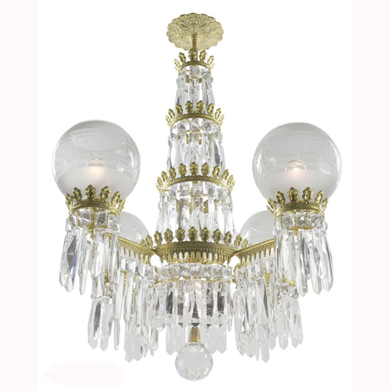 Antique Original Crystal Gasolier Style Ceiling Chandelier Lighting  (ANT-391) - For Sale - Antique Original Crystal Gasolier Style Ceiling Chandelier Lighting