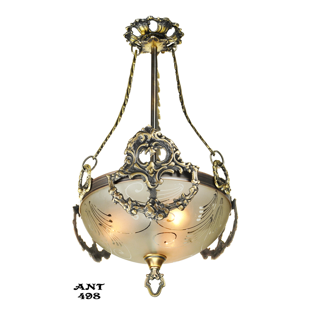 Antique edwardian ceiling bowl pendant light fixture circa for Antique pendant light fixtures