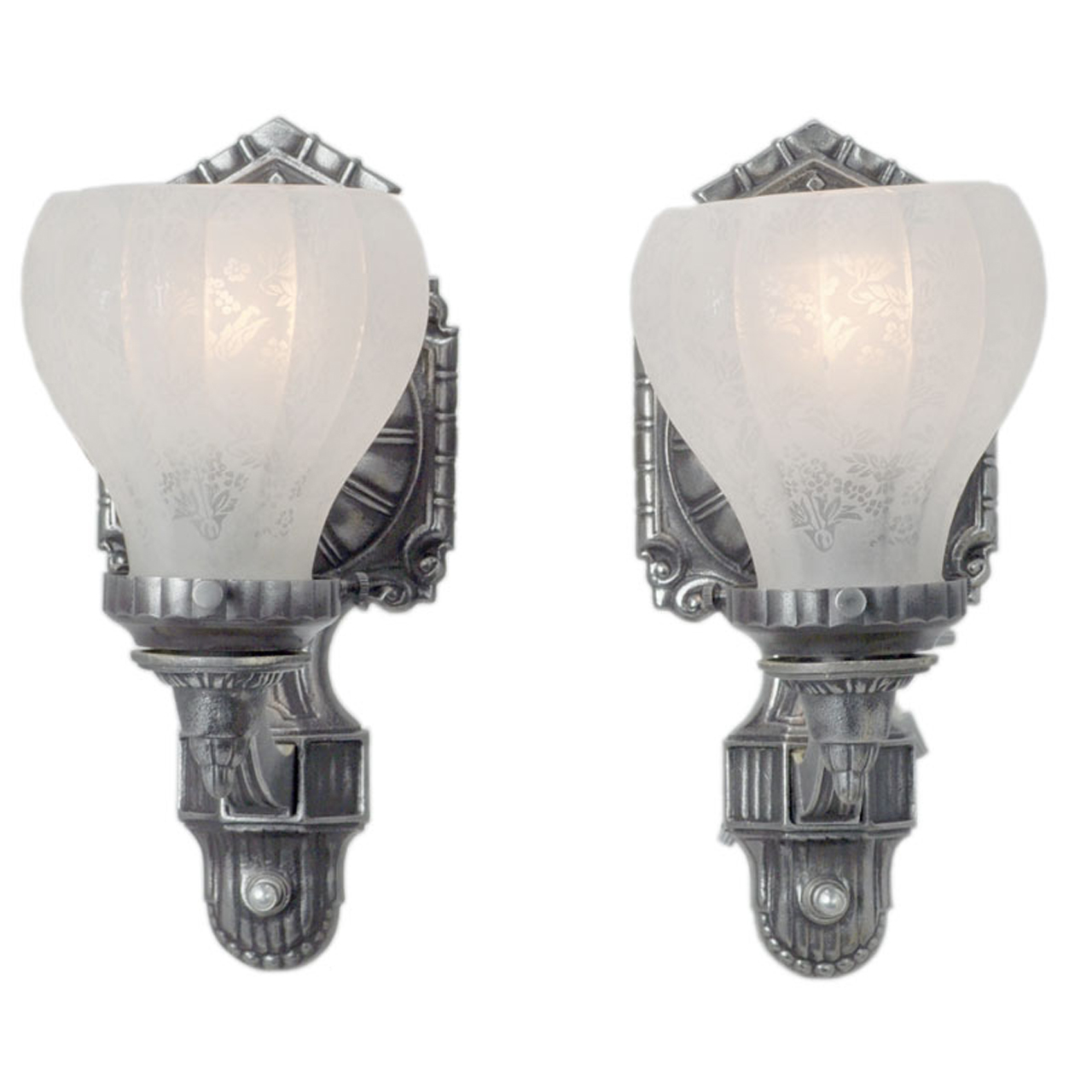 Antique Edwardian Style Pair of Pewter Color Wall Sconces (ANT-402) For Sale Antiques.com ...