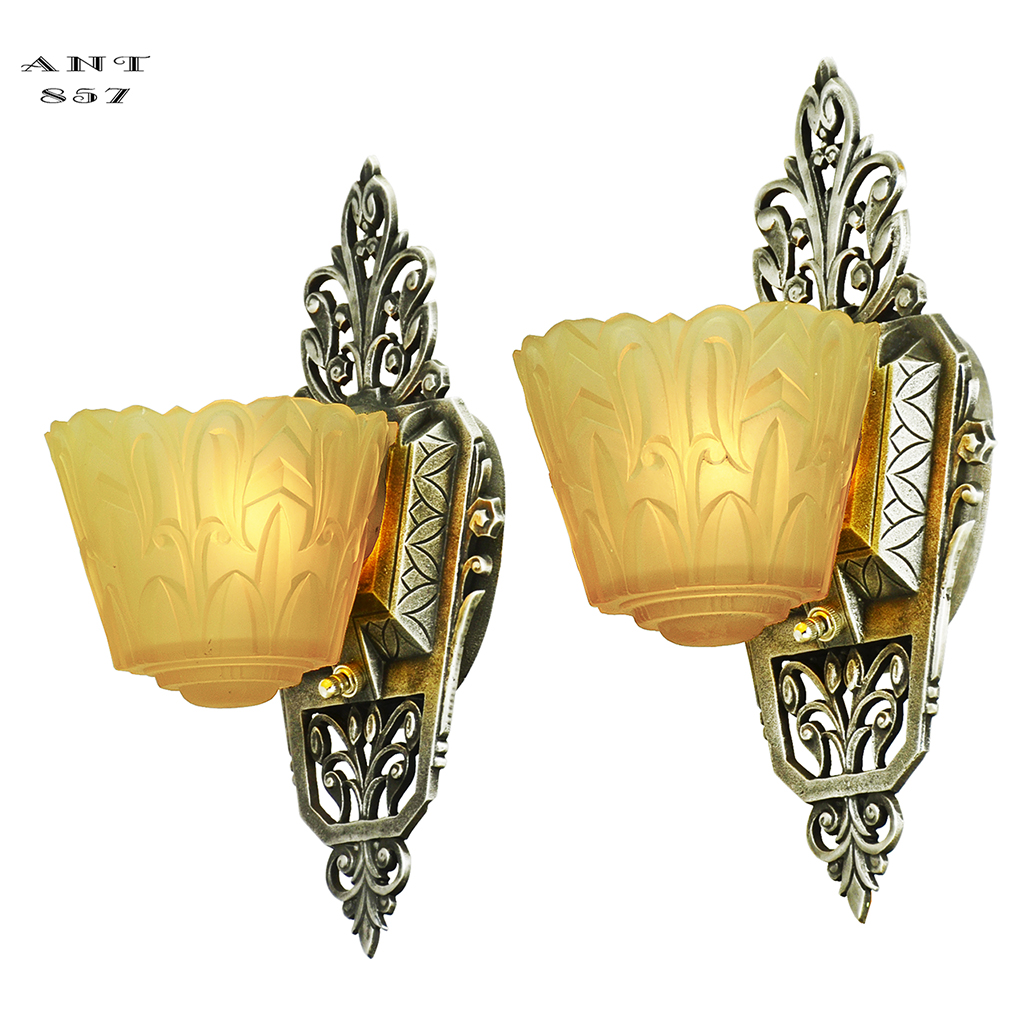 Art Deco Wall Sconces Pair of Antique Slip Shade Lincoln Nile Lights ...