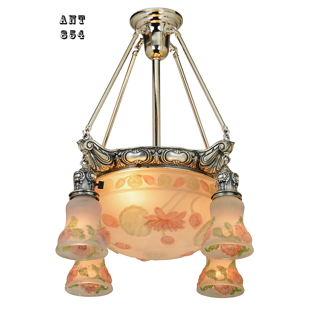 Antique chandelier edwardian puffy style ceiling bowl for Old looking light fixtures