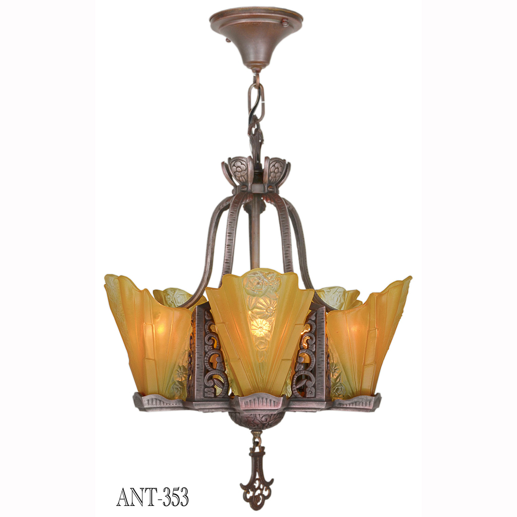 Art deco slip shade copper bronze finish antique 1930s chandelier this wonderful and uncommon copper bronze finished chandelier has a very striking presentation it is lovely and very 30s this five light chandelier has mozeypictures