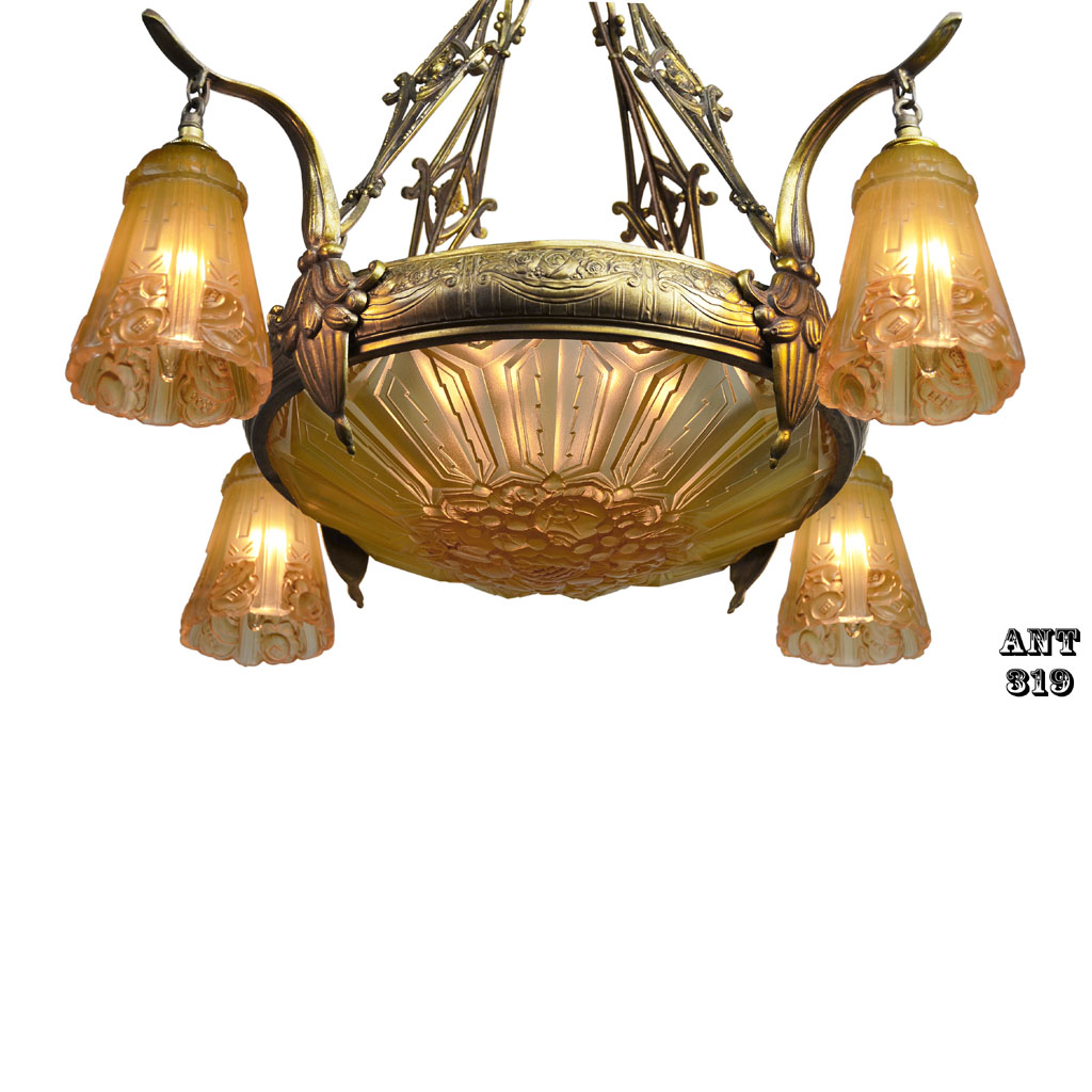 Art Deco Nouveau: Art Nouveau Antique French Chandelier With Early Art Deco