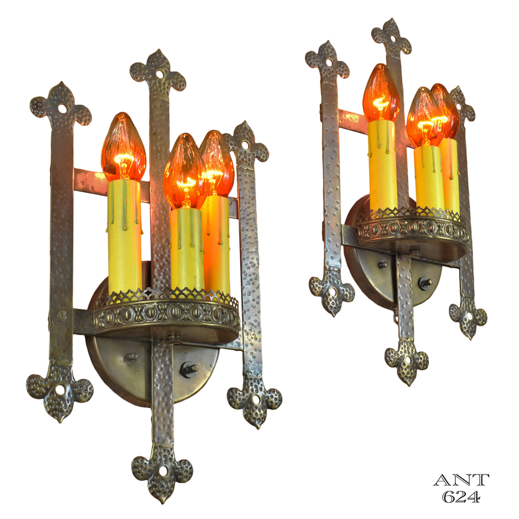 Gothic or Arts and Crafts Style Bare Bulb Candle Wall Sconces Lights (ANT-624) For Sale ...