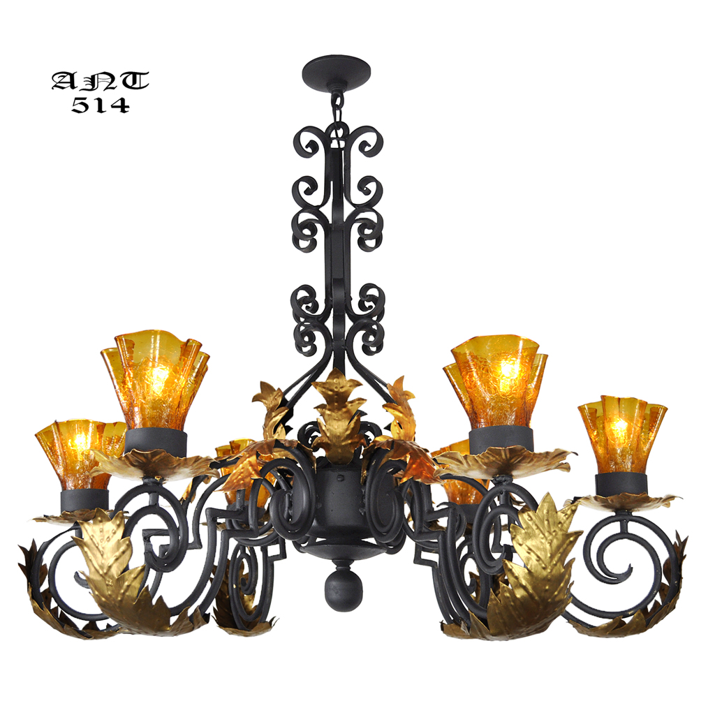 Gothic Style Antique 6 Arm Black Iron Steel Chandelier w/ Gold Detail  (ANT-514) - For Sale - Gothic Style Antique 6 Arm Black Iron Steel Chandelier W/ Gold