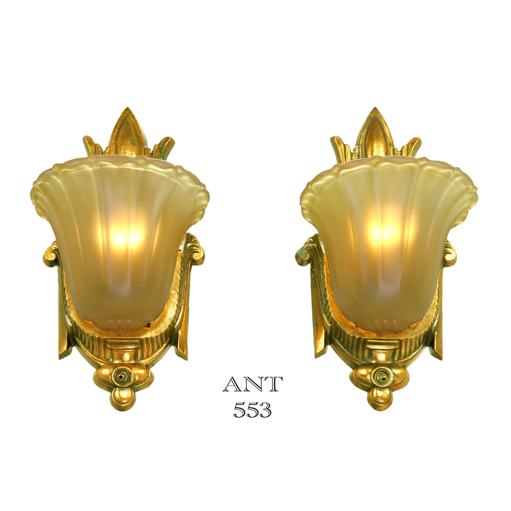 Art Deco Antique Slip Shade Wall Sconces Old Gold Finish