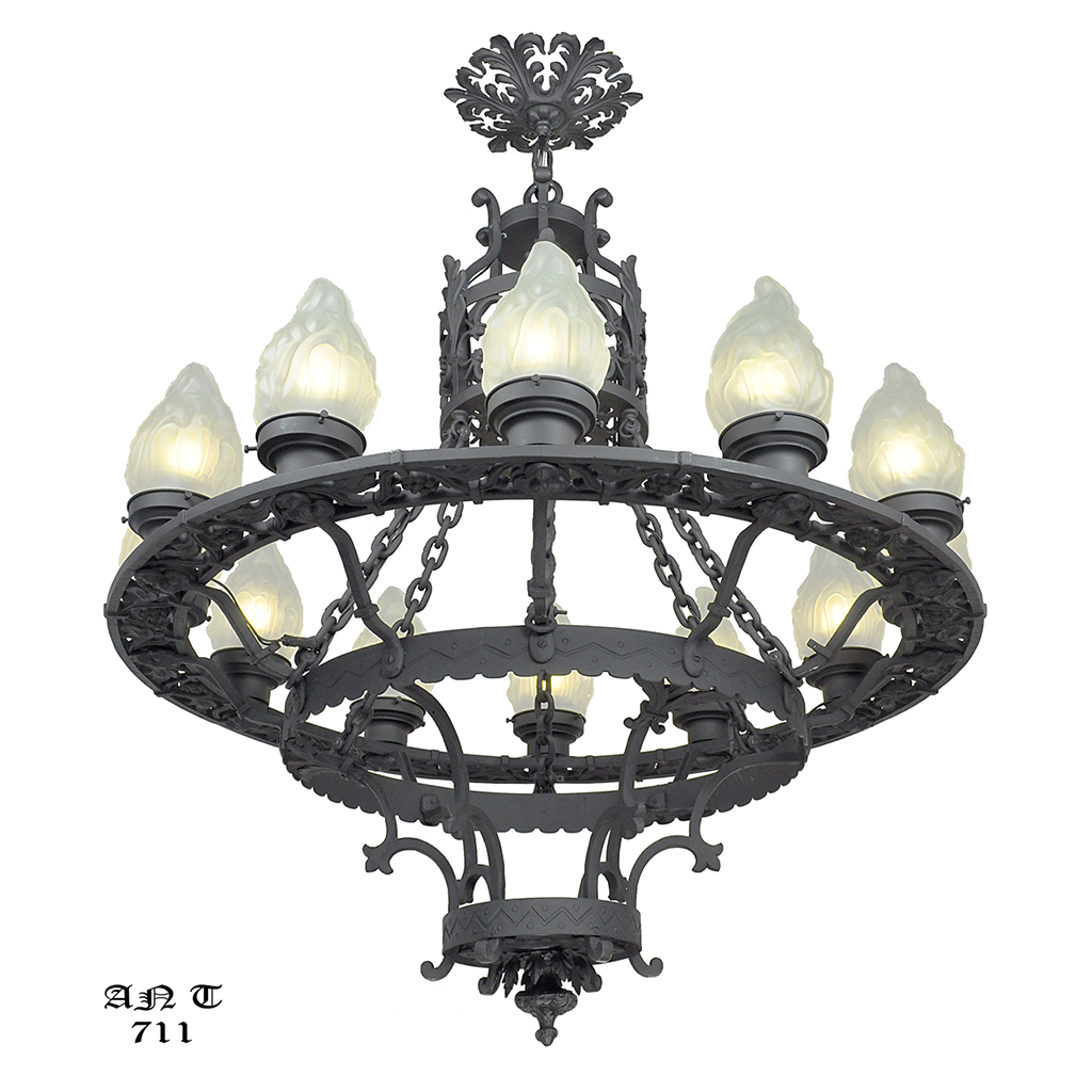 Large 12 Light Chandelier Antique Cast & Wrought Iron ...