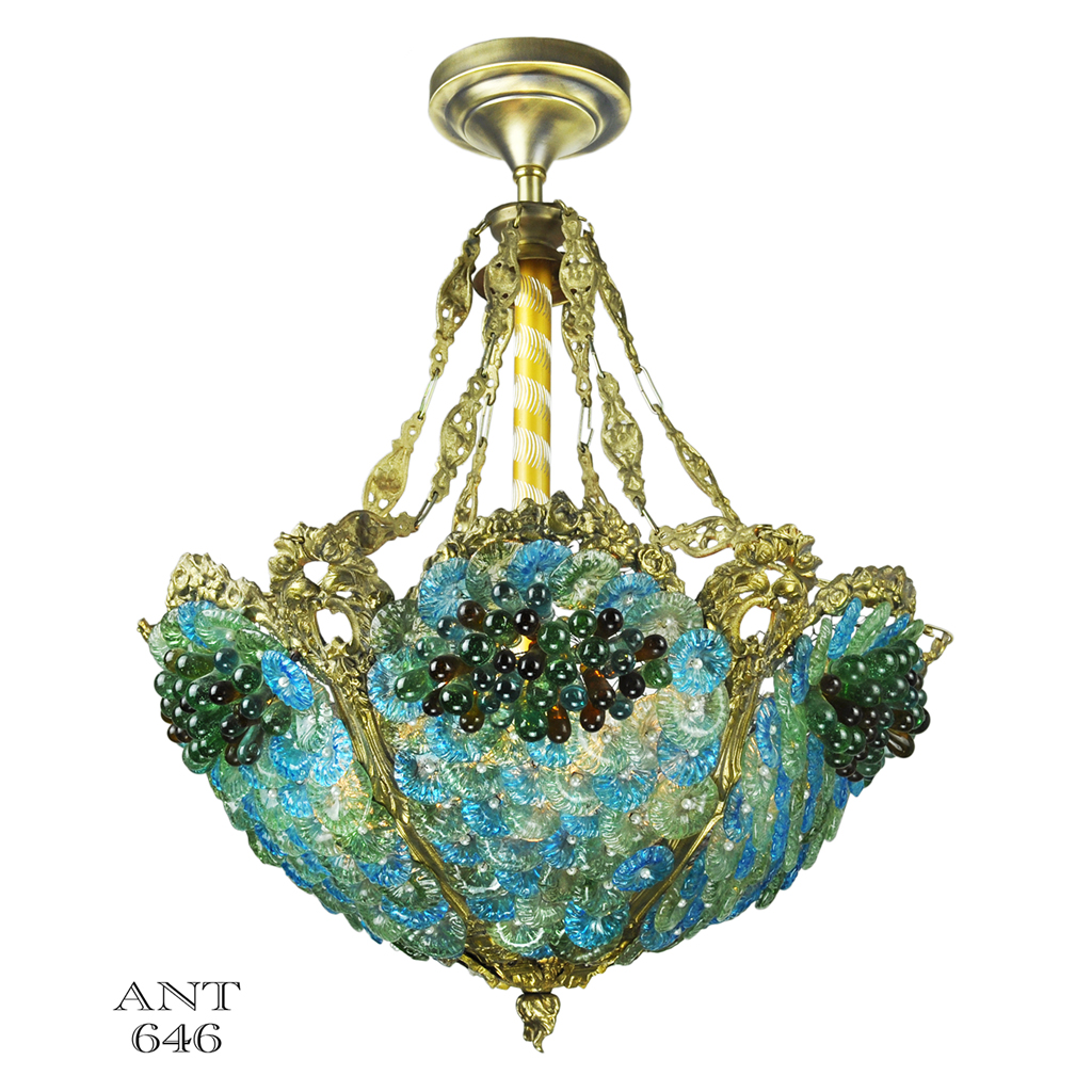 Antique bohemian bowl chandelier blue green glass bead light ant 646 for sale - Chandelier glass beads ...